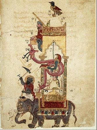 Jam gajah dari Kitab karangan Al-Jazari pada 1206.  Ia menggunakan regulator aliran, suatu loop tertutup