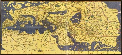 """Peta Eropa & Timur Tengah buatan al-Idrisi (""""Tabulla Rogeriana""""), orientasi ke selatan (gambar ini sudah dirotasi)."""