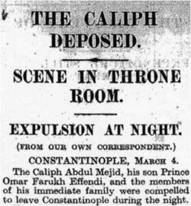 Koran Inggris yang mengabarkan dibubarkannya Khilafah tahun 1924