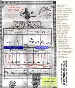 Ini merupakan salah satu dokumen identifikasi penduduk yang diadopsi otoritas Utsmaniyah sejak 1863. Berisi data pemegang, orang tua, alamat, dan deskripsi fisik (www.sephardicstudies.org).
